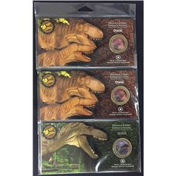 Lot of Three Dinosaur Exhibit Lenticular Coins