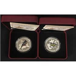 2x .9999 Fine Silver $10.00 Songbirds of Canada Coins - 'Warbler' and 'Oriole'. 2 Pcs.