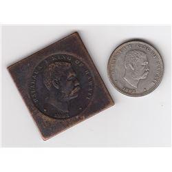 Hawaii, Quarter Dollar &50 cent impression on copper plate