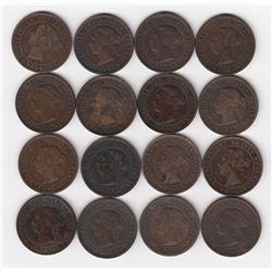 Queen Victoria One Cent Coins - Lot of 16
