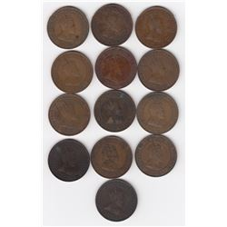 King Edward VII One Cent Coins Lot of 13