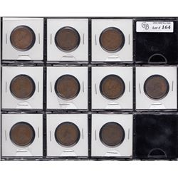 Large Canada One Cent Coins - Lot of Ten