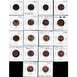 Lot of 18 Canadian One Cents