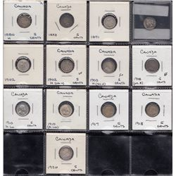 Lot of 13 Five Cents