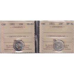Lot of Two ICCS Graded Ten Cents