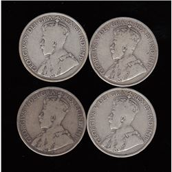 Silver Fifty Cent Coins Lot of Four