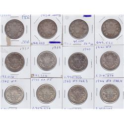 Lot of 12 Canadian Half Dollars - Includes: 1905