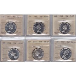 Lot of 6 ICCS Graded Fifty Cents
