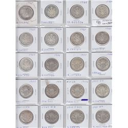 Lot of 20 Canadian Silver Half Dollars