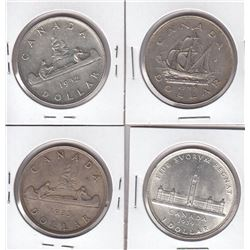 Canada Silver Dollar Coins Lot of 4