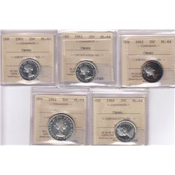 Proof Like ICCS Certified PL-64 Cameo Coins - Lot of Five