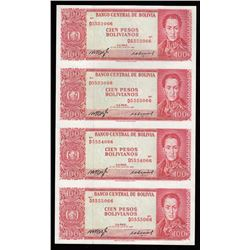 1962 Bolivia 100 Pesos Sheet of Four Notes