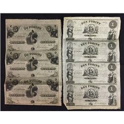 HUNGARY 1 & 5 Forint ND (1852) Uncut sheet of 4 notes
