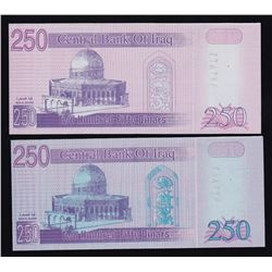 Lot of Two Central Bank of Iraq 250 Dinars - Printing Error