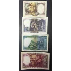 1931 Spain Set of Four Banknotes