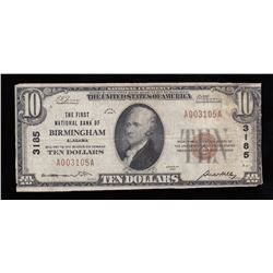 1929 USA Ten Dollars National Currency - Birmingham Alabama