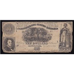 1861 $10 Confederate Note - Ten Dollars - Richmond VA. - Civil War