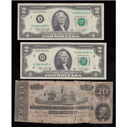 Lot of Three USA Banknotes