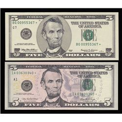 Lot of Two USA $5 Replacement Notes