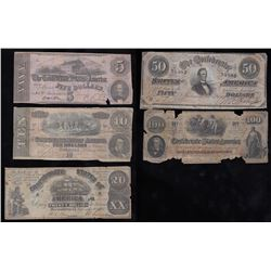 Lot of 5 Confederate Note Set from $5 - $100
