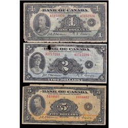 Bank of Canada $1, $2 & $5 Set, 1935