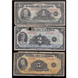 Bank of Canada $1, $2 & $5 Set, 1935