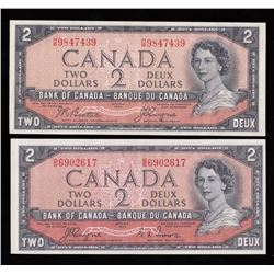 Bank of Canada $2, 1954 -  Devil's Face Notes