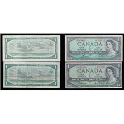 Bank of Canada $1, 1954 Lot of Two Notes. Modified Portrait and Devil's Face