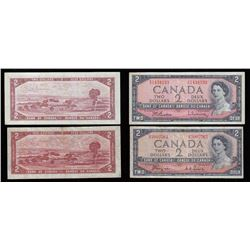 Bank of Canada $2, 1954 Lot of Two Notes. Modified Portrait and Devil's Face