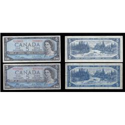 Bank of Canada $5, 1954 Lot of Two Notes. Modified Portrait and Devil's Face