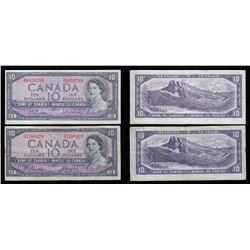 Bank of Canada $10, 1954 Lot of Two Notes. Modified Portrait and Devil's Face