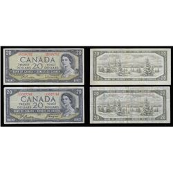 Bank of Canada $20, 1954 Lot of Two Notes. Modified Portrait and Devil's Face