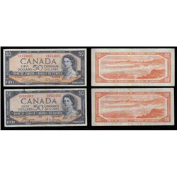 Bank of Canada $50, 1954 Lot of Two Notes. Modified Portrait and Devil's Face.