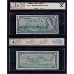 Bank of Canada $1, 1954 - Almost Solid Numbers