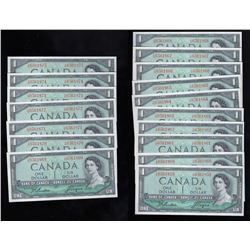 Bank of Canada $1 - Lot of 17 Consecutive Notes