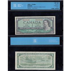 Bank of Canada $1, 1954 - Two Digit Radar