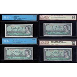 Bank of Canada $1,1954 - Lot of Four Certified Bankotes