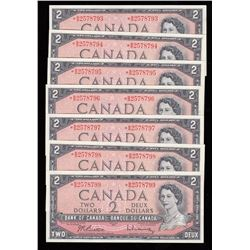 Bank of Canada $2, 1954 - Lot of 7 Consecutive Replacement Notes