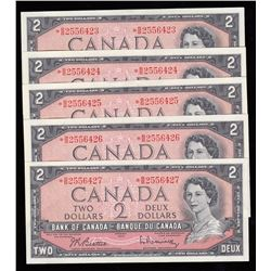 Bank of Canada $2, 1954 - Lot of 5 Consecutive Replacement Notes
