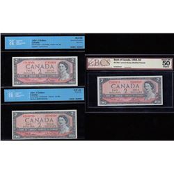 Bank of Canada $2, 1954 - Lot of Three Certified Bankotes