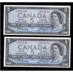 Bank of Canada $5, 1954 - Lot of Two Consecutive Notes