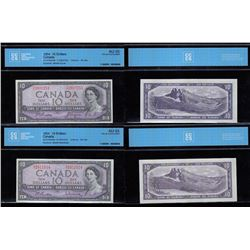 Bank of Canada $10, 1954 - Lot of Two Certified Bankotes