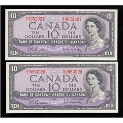 Bank of Canada $10's, 1954 Lot of 2 Consecutive