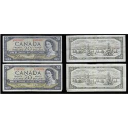 Bank of Canada $20's, 1954 - Lot of 2