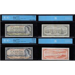Bank of Canada Certified, 1954  - Lot of Two Banknotes