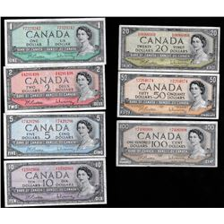 Bank of Canada Matched Signature $1 - $100, 1954 - Set of Banknotes