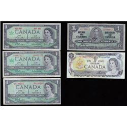Bank of Canada $1 Notes - Lot of 5