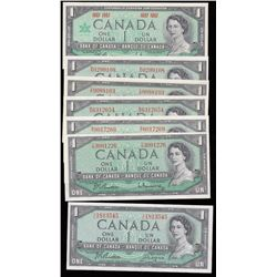 Lot of Seven Bank of Canada $1 Notes