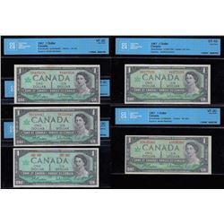 Bank of Canada $1, 1967 - Lot of Five CCCS Certified Banknotes