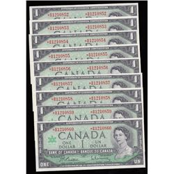 Bank of Canada $1, 1967 - Lot of 9 Consecutive Replacement Notes